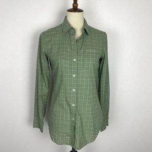 Theory Plaid Cotton Button Down Top